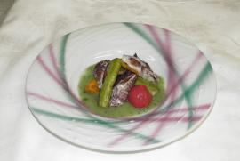炙りシャコと揚げ野菜の煮浸し 木の芽ソース