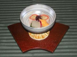 帆立の日の出巻~黄味柚子酢掛け~