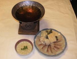 焼霜真鯛と旬菜の茶しゃぶ 潮ポン酢添え