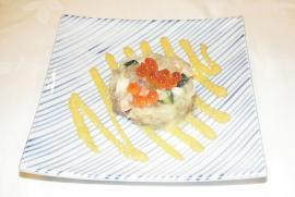 昆布〆鯛の千草和え 黄味酢敷き